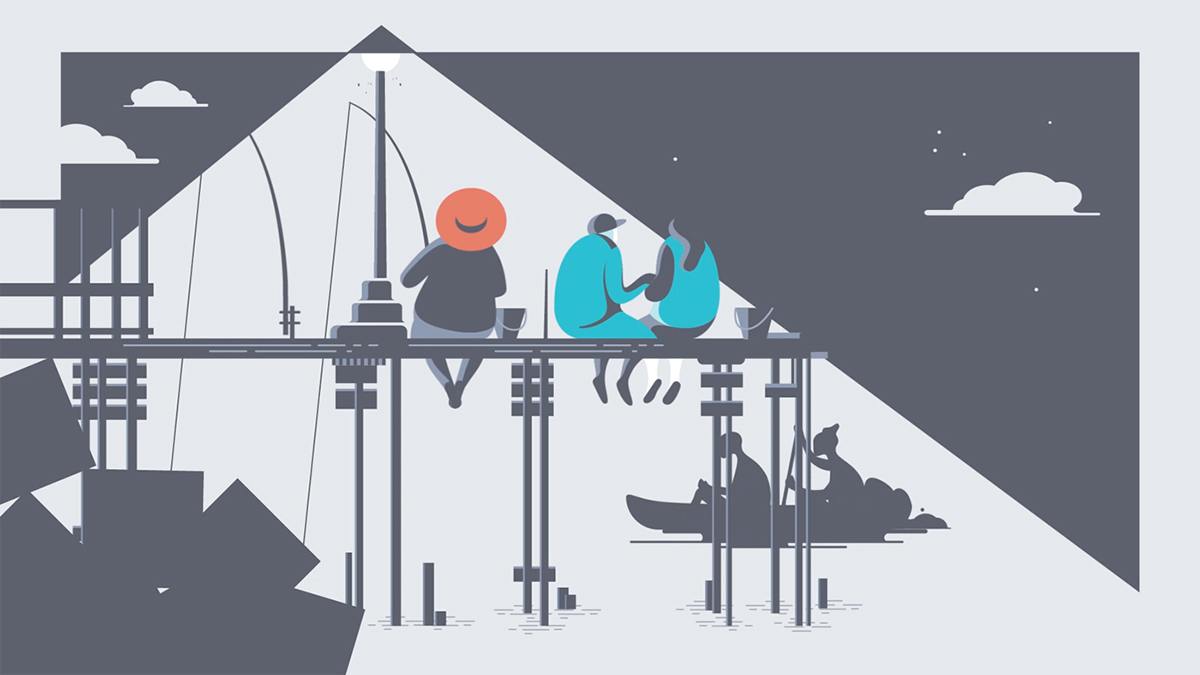 Illustration from The River, a video animation selected by Centre Pompidou