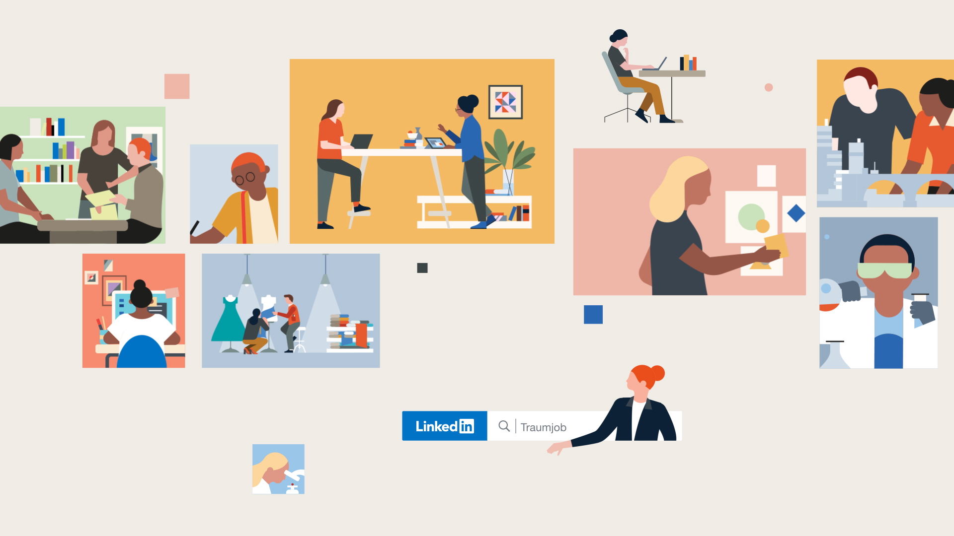 Illustration of people working from Linkedin by Dani Montesinos