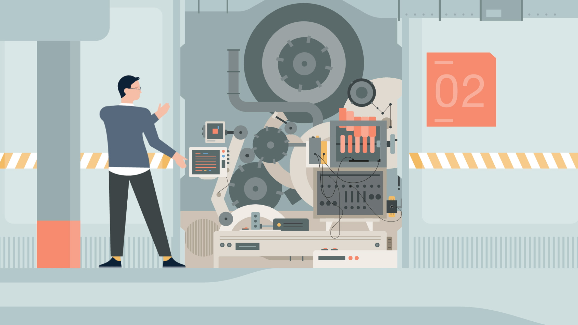 Illustration of a big machine. LinkedIn funtionalities video animation